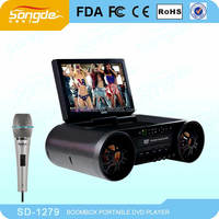 Portable 12inches super anti-shock Karaoke DVD Player with Large-capacity battery