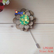 Wedding Boutonniere stick brooch wood silk floral pin for men suit tuxedo