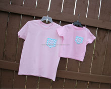 Cute mother and daughter chevron print pocket Tees,adult tees,toddler tees manufacturer
