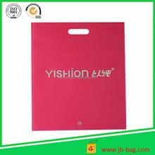 OEM YISHION silkscreen printed cheap non-woven die cut pink shopping bag
