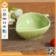 Leaves shaped mousses cup, ceramic ramekin, colorful dessert bowl