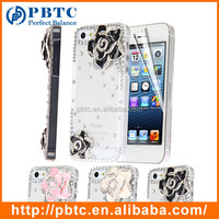 Set Screen Protector And Case For Iphone 5 , Hard Plastic Diamond Flower Beautiful Mobile Phone Back Cover