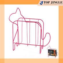 Pink Wire Cat Design Magazine Rack