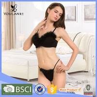 X-mas Low Price Fitness Sexy Women Plush Feather Women Underwear Sex Dress Bra Set