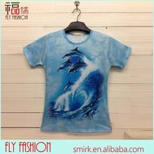 Dk014 # 2014 Wholesale elasticidade homens de moda golfinhos 3D t-shirt impressão t-shirt feitos sob encomenda da fábrica da China