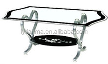 factory directly sale fancy design curved glass coffee table with acrylic legs