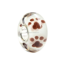 Wholesale Clear Brown Puppy Dog Paw Print Murano Glass Bead with 925 Sterling Silver Tube For European Bracelets