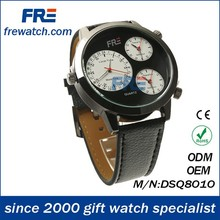 special wrist watch for businessman leather watch travel case with local time and home time