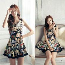vintage estilo de las mujeres de verano de lujo tótem retro de impresión casual vestido sin mangas