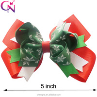 Hot Selling Hair Decorations, 5 inch Patterned Ribbon Boutique Christmas Ornament Hair Bows