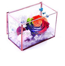 Home Decorating Geometric Glass Plant Terrarium Glass Vase.Rose gold with rectangular glass greenhouse flowers of eternal life.