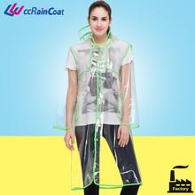 adult eva hooded transparent plastic rainwear in serging technology