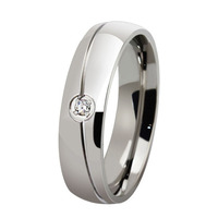 Fashion Stainless Steel O Crystal Jewelry Wedding Rings