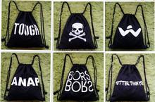 2015 New arrival Best design black cotton drawstring bags
