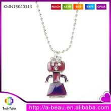 Retro cartoon robot pendant mood gift for kids amusement park accessories new fashion necklace KMN15040313