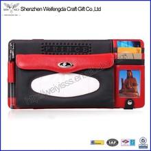 2015 new design promotion pretty genuine leather car visor card holder tissue box