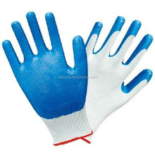 13G blue nylon liner coated nitrile Dots hand gloves