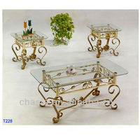 Glass and brass coffee table end table