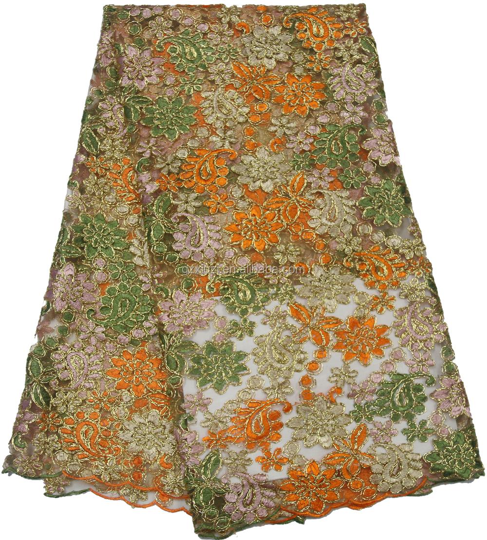 Cheap french net lace wedding dress fabric gold african for French lace fabric for wedding dresses