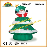 inflatable christmas tree with santa decoration