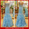 Oc-2085 fabricação de amostras reais de corpete frisado fantasia de gelo azul vestidos de baile azul plissado