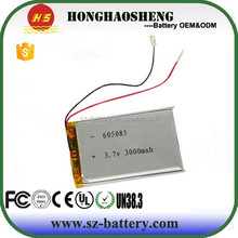 Power bank special battery 3.7v 3000mah lipo battery 605085