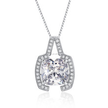 Interesting Rhodium Plated White Square Zircon Pendant Silver Jewelry Party