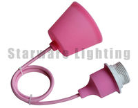 Colorful Silicone Pendant Lighting with silicone cover plastic canopy fabric wire Pink