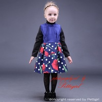 New Arrival Navy Blue Kids Girls Party Dress With White Dot Tank Sleeveless Girl Floral Dresses Holiday Children Wear GD80928-13