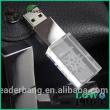3D customized logo crystal glass usb flash drive with led light