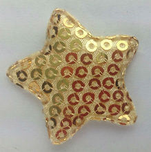 sequin gold star padded / sequin applique / embroidery sequin / star padded / padded applique