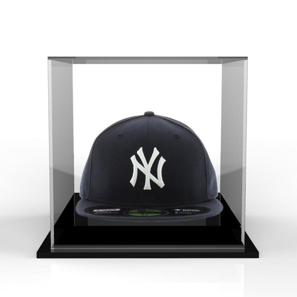 Chapéu acrílico transparente caixa de exibição, chapéu boné de plexiglass caixa diaplay stand com base preta