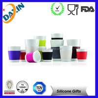 Round colorful Eco-friendly silicone rubber cup sleeve