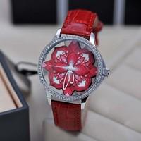 3D Women Flower Watch Diamond Crystal Watch Hollow Skeleton Watch