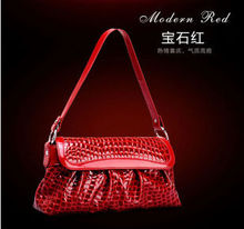 Factory outlets new style crocodile embossed leather female bag
