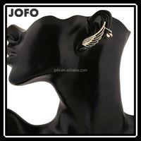 Women's Hot New Fashion Rhinestone Silver Gold Angel Wings Cover Earrings
