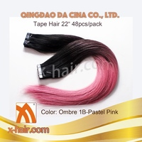 OMBRE COLOR 1B-PASTEL PINK SKIN WEFT 100% REMY HUMAN HAIR TAPE HAIR