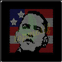 Obama Icon with USA flag rhinestone heat transfers wholesale for T-shirts