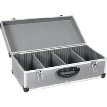 Silver 80 CD Aluminium Storage Flight Case Tool Box Carry Case with Handle, Storage Dividers & Locking Clasp
