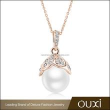 OUXI on sale now initial design single pearl pendant necklace