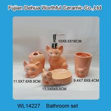 Orange fox shaped ceramic bathroom accessories set