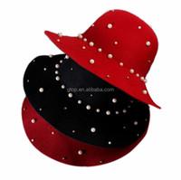 wholesale fashion lady's wool felt pearl fedora hats