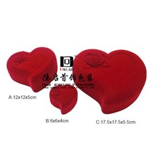 fancy and beautiful red heart shape rose ring box for couple
