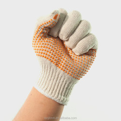 PVC dotted safety cotton gloves, orange/ blue and other colored dots