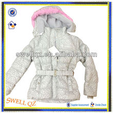 2014new style girl coat with fur hood and belt