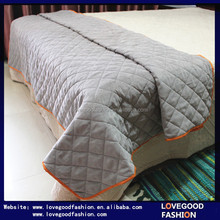 Modern&Minimalism Single Corduroy Patchwork Quilt Bed Sheet with Checks Patterns