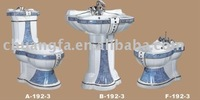 decorative pedestal hand wash basin and two piece toilet