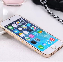 Newly Fashionable Mobile Phone Plating TPU+PC Bumper Case For IPhone 4G 5G With Diamond, Bumper Case Cover For IPhone 4G