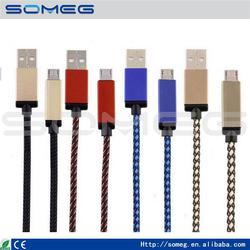 1M Nylon Braided Micro USB Data Cable V8 Charger Cords for Cell Phone Mobile Wholesale