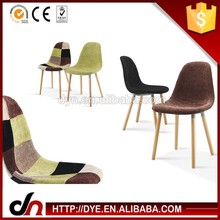 Stock wholesale solid wood leg eames organic chair,dining chairs with arms,new design 4 wooden legs patchwork chair